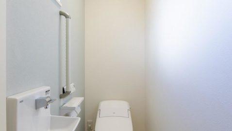 コンパクト&ローシルエットデザインでゆとりのトイレ空間を演出。タンクレスでコンパクト、フチレス形状の便器でお手入れ楽々♪汚れをしっかり洗い流すパワーストリーム洗浄でキレイを長持ちさせます! ※アクセントクロスなし。窓の位置は異なります。