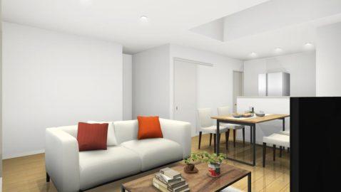 対面キッチンと吹き抜けが開放的な、淡い色合いが明るく爽やかなリビング。 日中は、陽射しをふんだんに取り込みパッと明るく心地よい室内です。