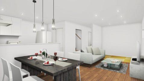 落ち着いたダークな色合いの床材に合う、アイボリーの樹脂畳が設えられたリビングは、和モダンな癒しの空間。 キッチンから畳コーナーが見えるので、お昼寝や遊んでいるお子様を見ながら安心して家事ができます!