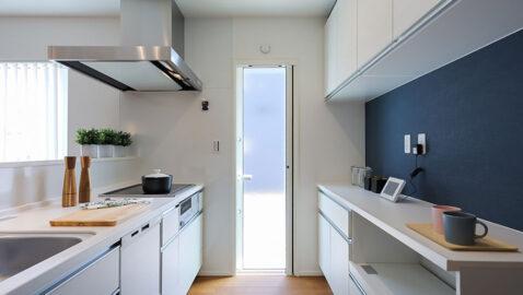 淡い色合いの木目柄が美しく上品なシステムキッチン!家電収納付きの背面収納があり用途別にしっかり収納できます。 ホーローキッチンパネルでお手入れラクラク、マグネットが使え便利です。