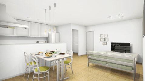 キッチンからリビング全体を見渡せる人気の対面キッチン。白い建具と淡い色味のフロアが光を反射して、より明るく感じられる室内となっています。リビング一角のマルチスペースは必見です!
